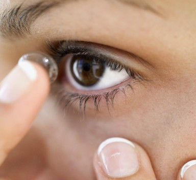 Contact lens fitting at Louise Sloan Opticians, Horsham.